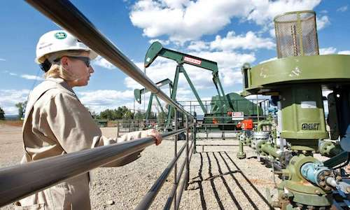 A 2009 photo of BP Florida manager Kourtney Hardwick standing near a methane gas well in Colorado.